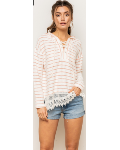 Crochet Hem LaceUp French Terry Striped Hoodie
