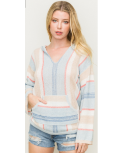 Multi Color Striped Hoodie Sweater